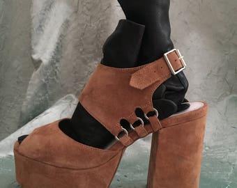 PLATFORM suede leather sandals beige size EU 38