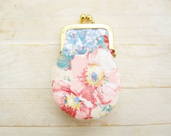 Coin purse mini kiss lock tiny wallet lipstick pouch clip frame change purse flower light pink blue white gold bridesmaids gift