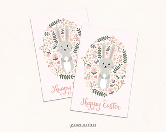 Easter Gift Tags / Happy Easter Tags / Easter Bunny Tags / Digital Tags / Floral Easter / Favor Tags / Easter Favors / Easter Basket Tags