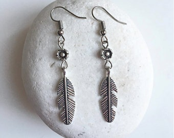 Boho Feather & Flower Silver earrings