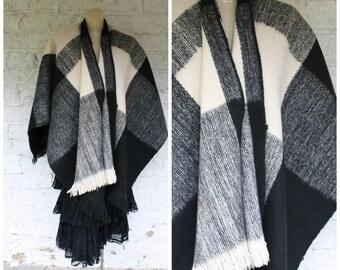 1970s Wool Cape / Vintage Bohemian Wrap / Hippie Fringe Cape / Charcoal Ivory Wrap Cape / Vintage Wool Wrap Poncho Cape  One Size