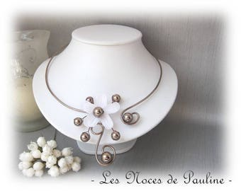 Necklace brown and white snow 'Les Volutes' v3
