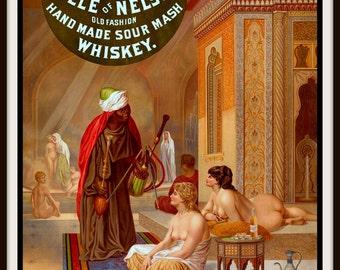 Vintage Advertisement: Kentucky Whiskey - Harem Girls - circa 1900 Giclee Fine Art Print