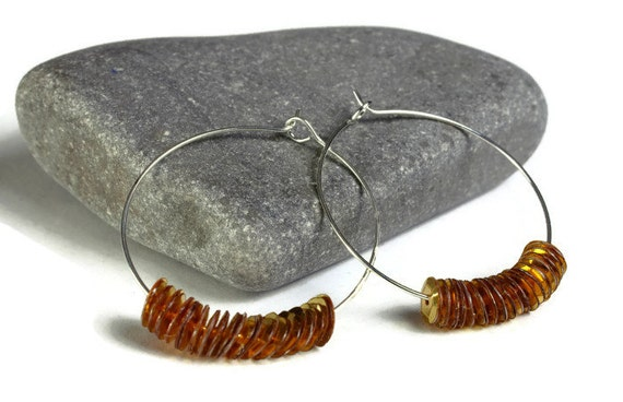 Sale Clearance 20% OFF - Gold yellow sequins hoop earrings (637)
