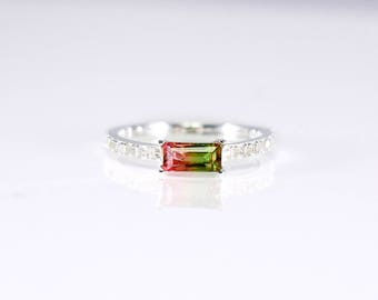 Watermelon Tourmaline Ring with Cubic Zirconia Pave Band, Synthetic Watermelon Tourmaline Stacking Ring, Stunning Sterling Silver Ring