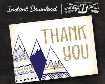 Adventure Thank You Card | Mountain Thank You Card | Instant Download Printable Digital File Card | Rustic Thank You Card Navy gold Glitter