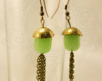 Glass bead and bronze earrings