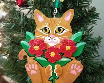 Orange Tabby Cat Ornament ~ Cat Ornament ~ Personalized Cat ~ Cat Decor ~ Red Flowers ~ Ornament ~ Cat Lover Gift ~ Gift Box