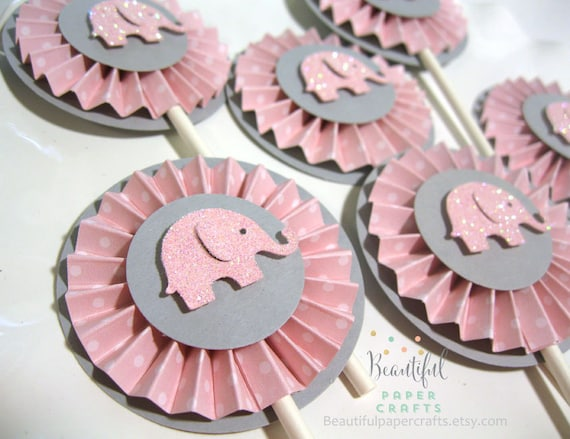 Pink And Gray Elephant Cupcake Toppers Elephant Baby Shower
