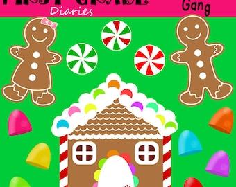 Gingerbread Gang Digital Clip Art Set BUY 2 Get 1 FREE  Gingerbread Man, House, Peppermint, Gumdrop
