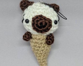 Crochet Siamese Cat Ice Cream Cone Keychain