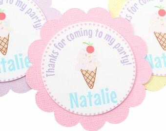 Ice Cream Birthday Favor Tag - Ice Cream Party Favor Tag - Ice Cream Thank You - Summer Thank You Tag - Ice Cream Party Decoration