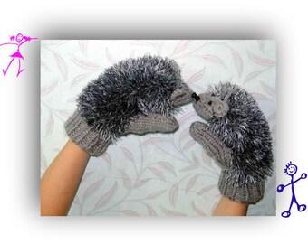 Crochet hedgehog glove  , Handmade  Animal costume,  hand Puppet ,  wool Glove , gray mittens, child costume ,