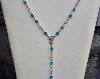 Beautiful Hand-Made Blue Crystal Rosary Necklace