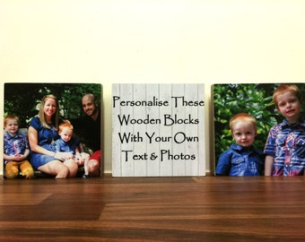 """Personalised 3 Wooden Family Photo & Text Blocks 5x5"""" Friend Mother's day Gift  FREE DELIVERY"""