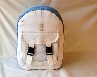 Laptop backpack medium white purse light blue denim backpack vegan hipster fashion diaper bag hands free purse made from recycled jeans