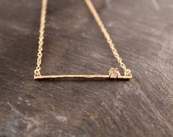 Herkimer Diamond Hammered Bar Necklace (Gold Sterling Silver Rose Gold Raw Double Terminated Quartz Gifts Under 50)