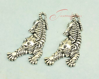 5PCS--52x22mm ,Large Tiger Charms Antique Tibetan Silver Tone tiger pendants/charms, DIY supplies,Jewelry Making JAS0093