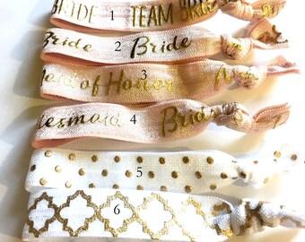 Choose Your Own-Vintage Rose & White Bridal/Bridal Party Hair Tie Set-Pick 6 hair ties, Wedding Hair Ties, Bridal Hair Ties, Bride Hair Ties