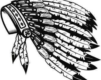 Indian Headdress #2 Native American Head Dress Tribe Chief Costume Ornate Feather Tattoo Logo .SVG .EPS .PNG Vector Cricut Cut Cutting File