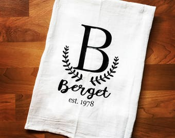 Monogrammed Flour Sack Towel, personalized kitchen towel, wedding gift, anniversary gift, Farmhouse kitchen towel