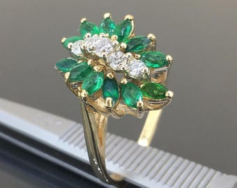14k Yellow gold Natural Marquise Colombian Emerald VS Diamond cluster ring 1.45