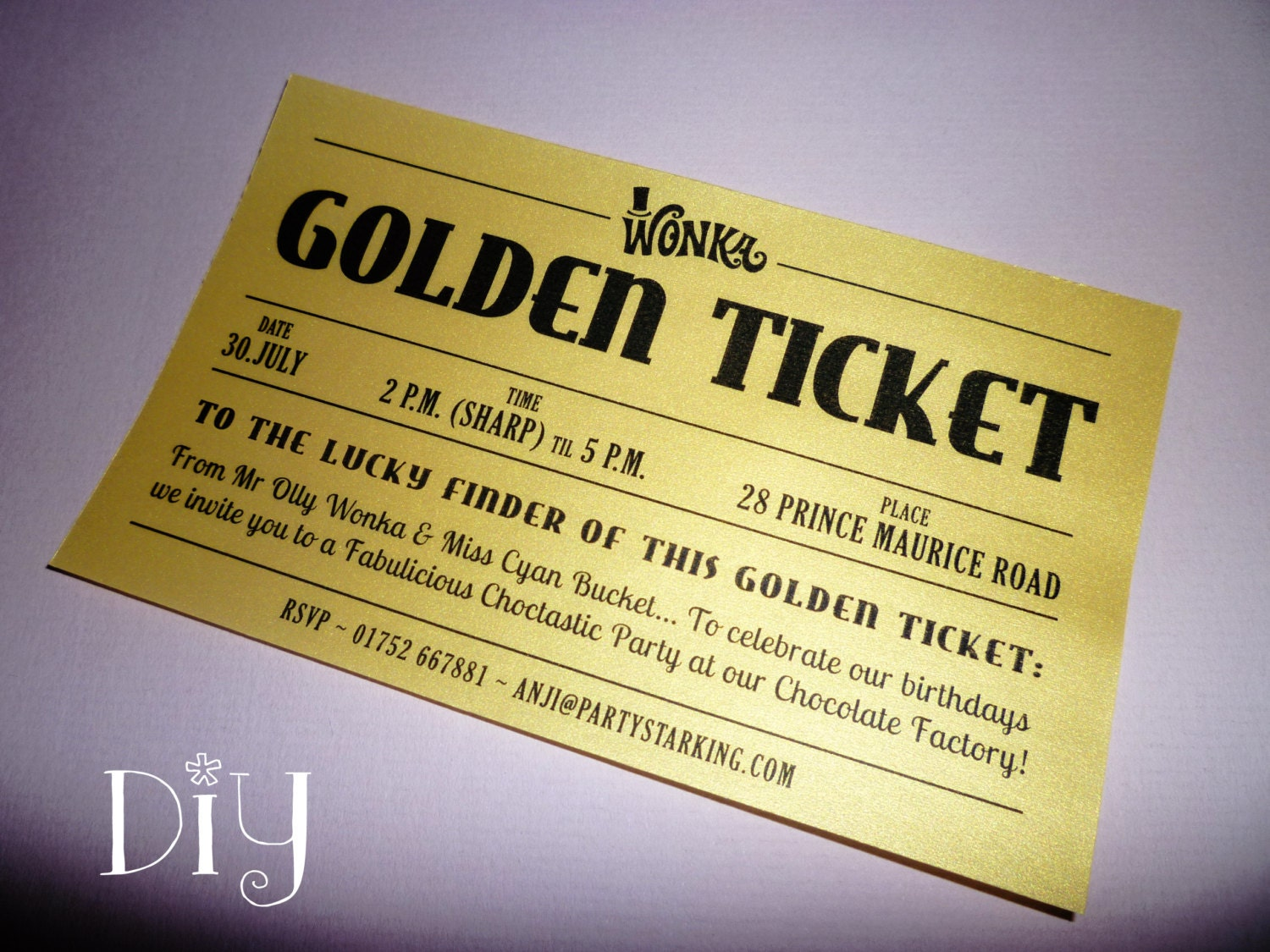 Golden Ticket invitations printable Willy Wonka invitations
