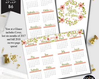 B6 size Year at a glance printable insert, 2017 and 2018 Planner Insert.  CMP-235.2
