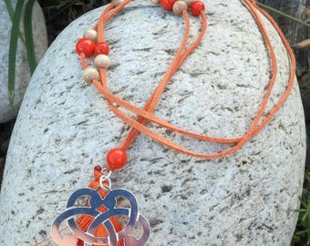 Serenity Orange wood beads necklace