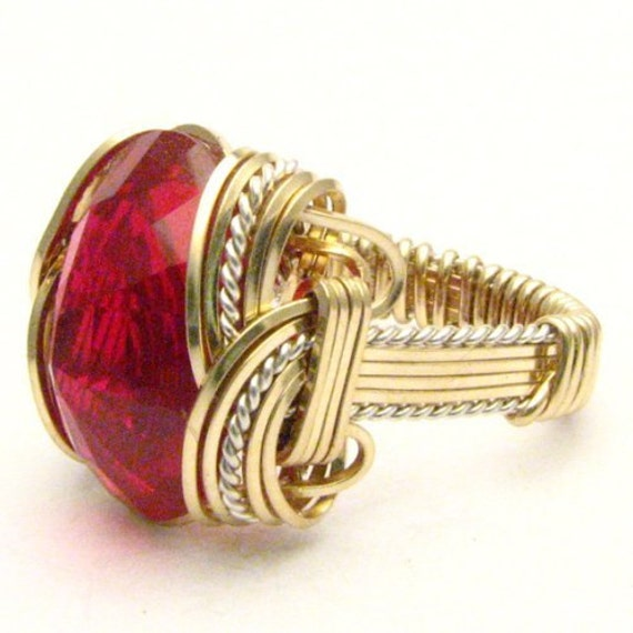 Handmade Wire Wrap Sterling Silver/14kt Gold Filled Man Made Ruby Ring