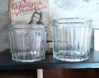 2 LARGE Antique french jam jar - Antique Glass jar - French Antique Glass jar - Pot à confiture - French Antiques