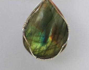 Labradorite and 925 sterling silver wrapped handmade pendant