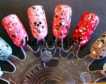 Cookies n Cream Black, White, Holographic Glitter Handmade Indie Top Coat Nail Polish Lacquer in Suspension Base