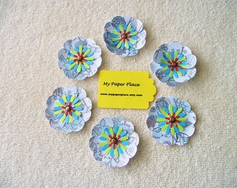 6 - Shades Of Blue -  2 INCH PAPER FLOWERS - Free Secondary Shipping