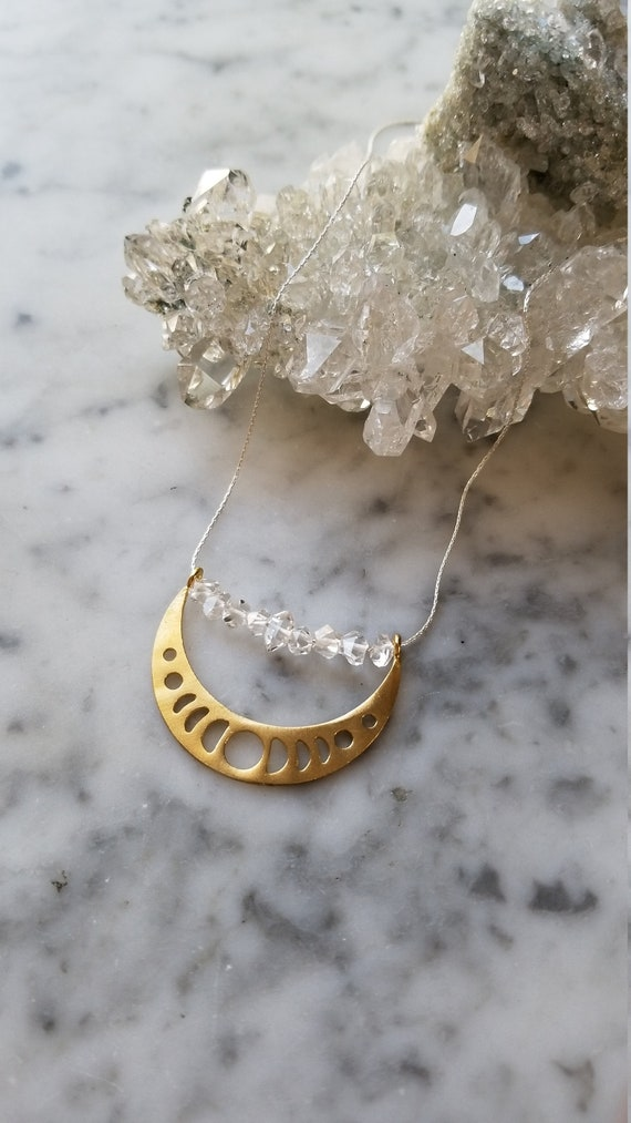 Moon phase necklace brass pendant with herkimer diamonds on sterling silver chain