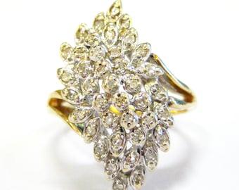 Diamond Cluster 14K Vintage Ring - X3199