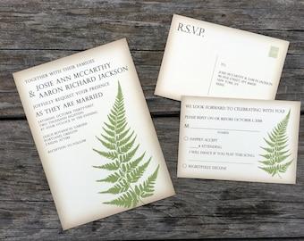 Rustic Fern Wedding Invitation, Greenery Invitation Set, Vintage Botanic Wedding Invite Suite, Green, Ivory, Brown