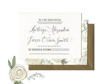 Gardenias and White Roses Elegant Wedding Invitation Suite | Classic Custom White Floral Wedding Invitation with Hand Calligraphy
