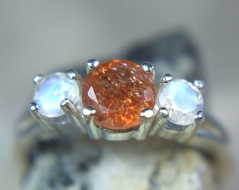 SUNSTONE & MOONSTONE - Mesmerizing Celestial Sun and Moon .925 Sterling Silver Three-Stone Ring!