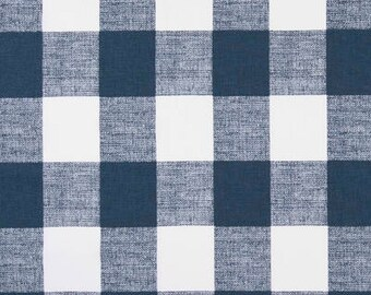 Fabric By The Yard, Buffalo Check, Navy, Blue, White, Cotton,