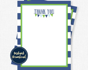 Blue and Green Thank You Cards, Boy Thank You Notes, Birthday Thank You, Stripe Thank You Cards, Printable INSTANT DOWNLOAD