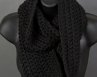 Women's infinity scarf, black scarf, ready to ship, crocheted scarf
