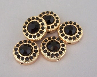 4 tiny black and gold 2 hole beads, SMALL round black two hole slider beads or 2 hole buttons, black and gold, 13mm (about 1/2 inch)