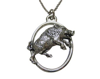 Charging Razorback Wild Boar Hog Large Oval Pendant Necklace