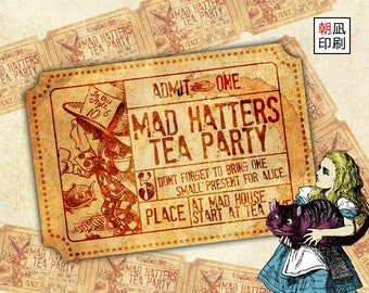 Printable Alice in Wonderland Mad Hatter's Tea Party Tickets Set for paper crafting digital collage sheet instant download - S001