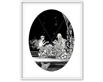 Mermaid Merman Print Black and White Antique Fairy Tale Sea Story Picture Book Vintage Illustration Girl Bedroom Baby Nursery Decor ga 613
