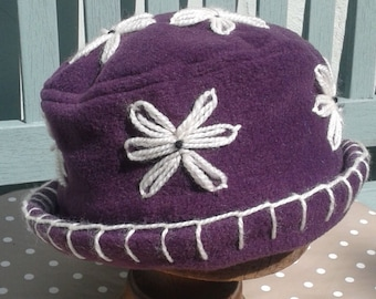 Purple plum homegrown fleece daisy hat