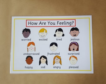 Emotions, feelings poster, EYFS, Autism, ADHD, ASD, pre school, teaching resource, learning resource, educational