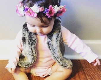 Flower Crown small flowers, Flower Crown, Floral Crown, Child Flower Crown, Paper Flower Crown, Adult Small Flower Crown