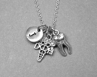 Dental Hygienist necklace, tooth necklace, dental hygienist charm, tooth jewelry, dental school, dental school graduate, initial necklace